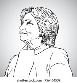 Hillary Clinton Portrait Drawing. Vector Illustration. November 17, 2017