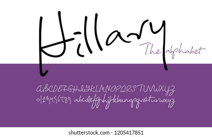Hillary Script Font.  Stylized modern alphabet for branding projects, homeware design, packaging, magazines, posters, flyers titles, logos,  books, fashion design,  slogans, invitations. Vector
