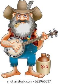 hillbilly with corncob pibe playing banjo