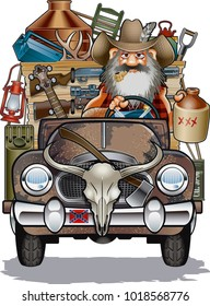 hillbilly driving rusty truck