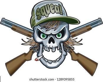 hillbilly skull with crossed shotguns