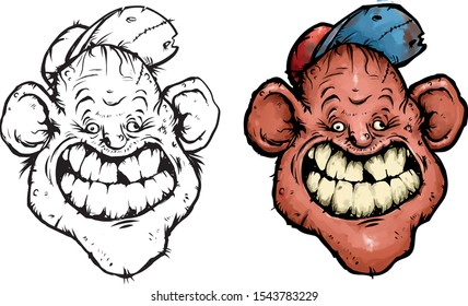 the hillbilly smiles broadly in a cap with dirty teeth
