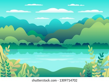 Hills landscape in flat style design. Valley with lake background. Beautiful green fields, meadow, mountains and blue sky. Rural location in the hill, forest, trees, cartoon vector