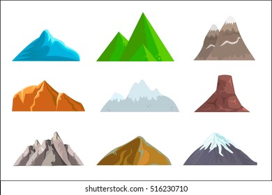Hills and mountains cartoon vector set. Hill nature, element for landscape outdoor, rock snow illustration. Vector illustration. White Background.