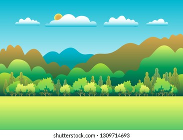 Hills and mountains landscape in flat style design. Valley background. Beautiful green fields, meadow, and blue sky. Rural location in the hill, forest, trees, cartoon vector