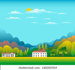 Hills and mountains landscape with house farm in flat style design. Forest in valley illustration. Green fields, meadow, tree, blue sky and sun. Rural location in the hill, forest, cartoon vector back