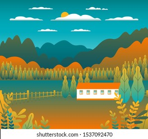 Hills and mountains landscape, house farm in flat style design. Outdoor panorama countryside illustration. River, field, tree, forest, blue sky and sun. Rural location, cartoon vector background