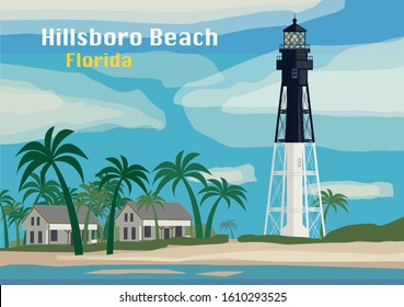 Hillsboro Inlet Lighthouse, Hillsboro Beach, Florida, United States. Vector illustration
