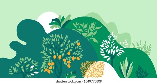 Hilly landscape with trees, bushes and plants. Growing plants and gardening. Protection and preservation of the environment. Earth Day. Vector illustration.