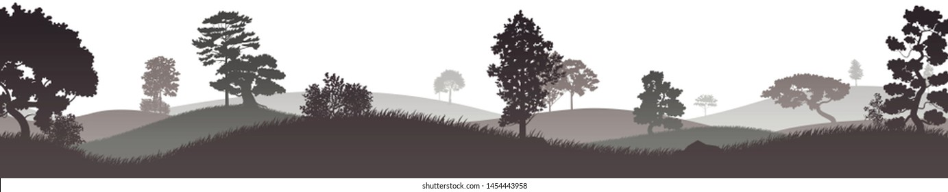 Hilly terrain covered with trees. Silhouette. Vector illustration, flat design style.