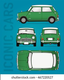 Hilversum, The Netherlands - August 11, 2016: Mini Cooper, model 1959 - 1968, vector illustration - illustrative editorial