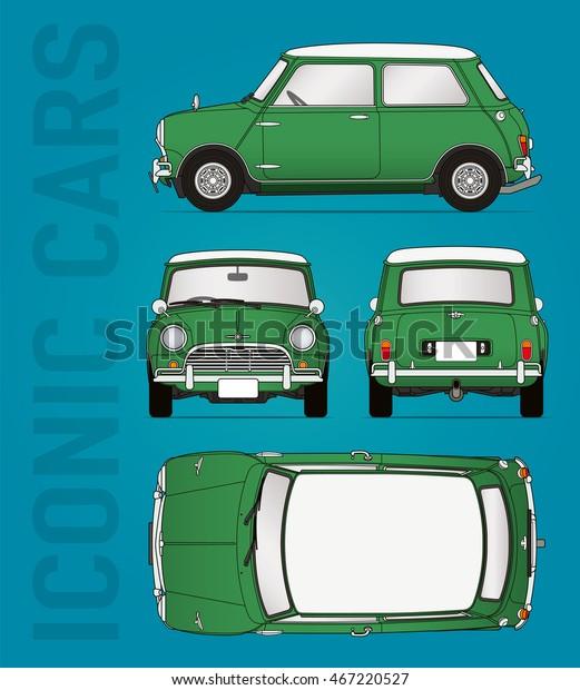 Hilversum, The Netherlands - August 11, 2016: Mini Cooper, model 1959 - 1968, vector illustration - illustrative editorial