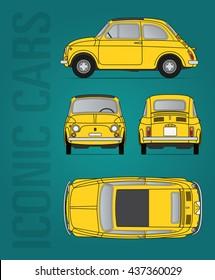 Hilversum, The Netherlands - June 15, 2016: Fiat 500 - 1957-1975, vector illustration - illustrative editorial