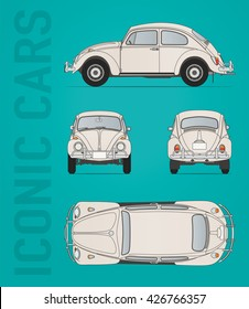 Hilversum, The Netherlands - May 26, 2016: Volkswagen Beetle 1300, model 1950-1959, vector illustration - illustrative editorial