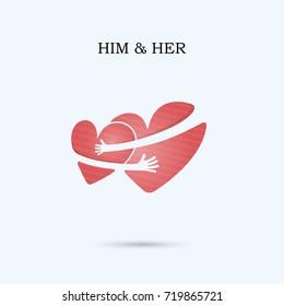 HIM & HER,FRIENDS FOREVER vector logo design template.Wedding logo.Bridegroom and Bride icon idea concept.Family,man,woman,boy,girl,Boyfriend,girlfriend sign.Love,Heart Care logo.Vector illustration