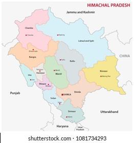 Political Map Of Himachal Pradesh Map of Himachal Pradesh Images, Stock Photos & Vectors | Shutterstock