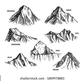 Himalaya mountains set. Isolated flat hand drawn Lhotse, Makalu, Kangchenjunga, Cho Oyu, Chomolungma, Dhaulagiri, Chogori Himalaya mountain peak sketch collection. Nepal nature vector illustration