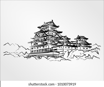 Himeji Castle, near Osaka, Japan.illustration vector doodle hand drawn of sketch Himeji jo castle.Japanese historical showplace Freehand drawing Hand Draw vector Illustration