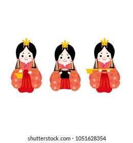 """Hinamatsuri illustration.In Japanese it is written """"Doll Festival""""."""