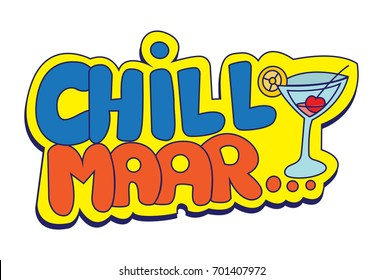 Hindi Chat Stickers - Chill .Vector Illustration. Isolated on white background.