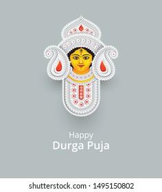 Hindi Goddess Durga Face Vector Illustration - Indian Religious Goddess Durga Face Vector Illustration