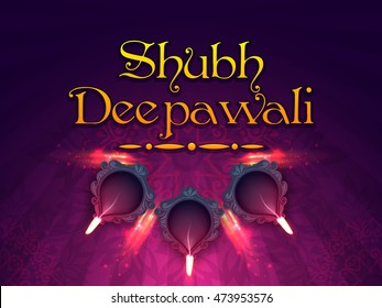 Hindi Text Shubh Deepawali (Happy Deepawali or Diwali) with illuminated Oil Lamps (Diya) on rangoli decorated background, Poster, Banner or Flyer design for Indian Festival of Lights celebration.