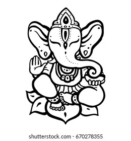 Hindu elephant. Lord Ganesha. Vector hand drawn illustration.
