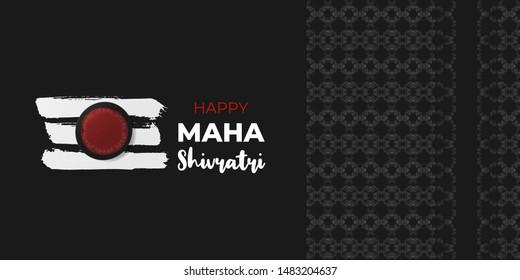 Hindu festival Maha Shivratri celebrated annually in honor of Lord Shiva. Grunge hand drawn texture Mahadev Tilak red sign with symbol flower lotus pattern. Vector Shivratri holiday illustration.