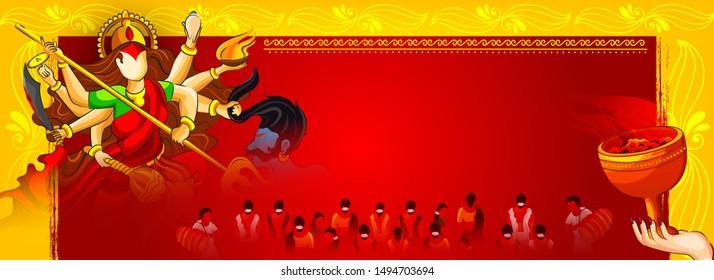 Hindu Festival Navratri or Durga Puja Banner, Website Header Design with Goddess Durga Illustration. Shubh Navratri.