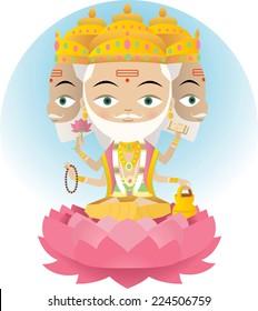 Hindu god Brahma vector cartoon illustration