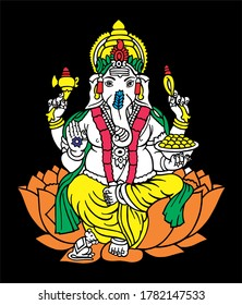 Hindu God Ganesh Vector Art