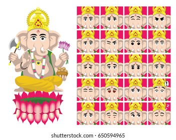 Hindu God Ganesha Cartoon Emotion faces Vector Illustration