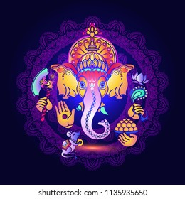 Hindu God Ganesha. Colorful  card with Lord Ganesh. Hand drawn tribal style Vector illustration. Hindu elephant. Happy ganesh chaturthi design.