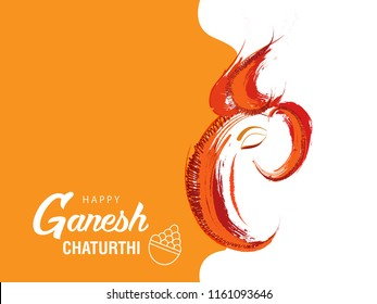 Hindu God Ganesha Grungy Illustration for Happy Ganesh Chaturthi Festival.