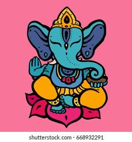 Hindu God Ganesha. Hand drawn tribal style. Vector illustration.