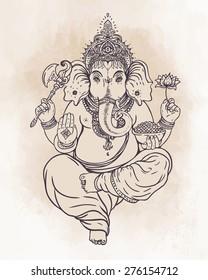 Hindu god Ganesha. Vector illustration
