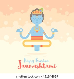 Hindu God Krishna cartoon character for the Janmashtami holy Indian Holiday. Congratulation celebration card