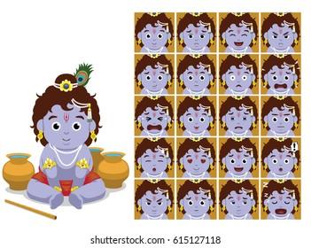 Hindu God Krishna Cartoon Emotion faces Vector Illustration