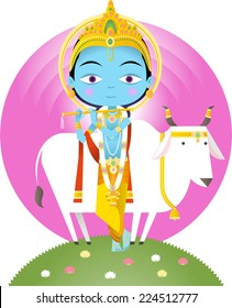 Hindu god Krishna cartoon illustration