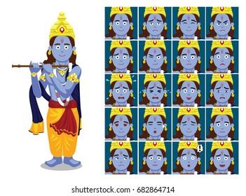 Hindu God Krishna Janmashtami Cartoon Emotion faces Vector Illustration