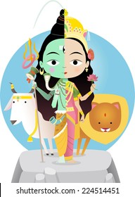 Hindu god Shivashakti cartoon illustration