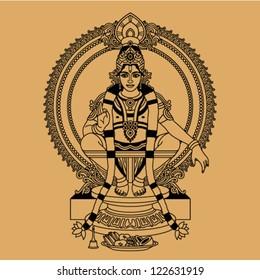 Hindu God sitting on a throne on a beige background
