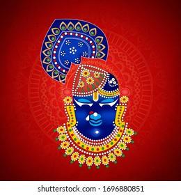 Hindu god Sri krishna, sreenathji ( Lord Shrinathji of  Nathdwara), tirupati, vishnu vector , poster, banner