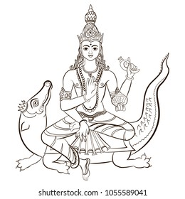Hindu God Varuna sitting on the crocodile. Vector illustration isolated