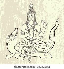 Hindu God Varuna sitting on the crocodile. Vector illustration.