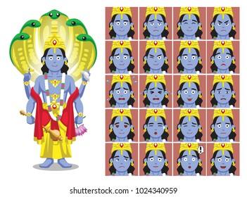 Hindu God Vishnu Cartoon Emotion faces Vector Illustration