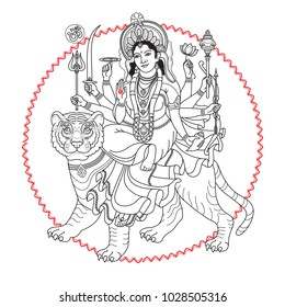 Hindu Goddess. Hand-drawn Vector illustration. Goddess Durga sitting on the tiger for Navratri Indian festival. Black line isolated on white. Linear vector illustration. Navaratri Greeting card.