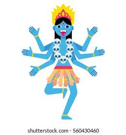 Hindu goddess Kali. Cartoon vector illustration in modern flat vector style.