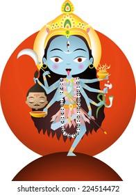 Hindu goddess Kali vector cartoon illustration