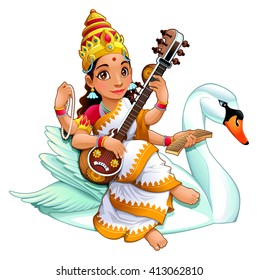 Hindu goddess of knowledge. Vector cartoon illustration.